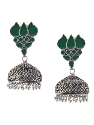 Green Enameled Jhumkis with Lotus Design