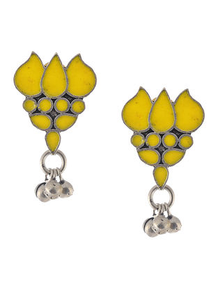 Yellow Enameled Earrings with Lotus Design