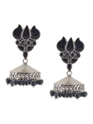 Black Jhumkis with Lotus Design