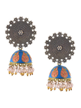 Blue-Peach Enameled Jhumkis