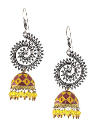 Red-Yellow Enameled Jhumkis