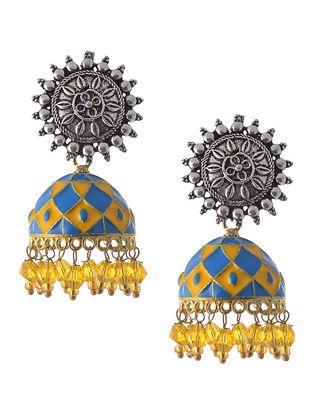 Blue-Yellow Enameled Jhumkis