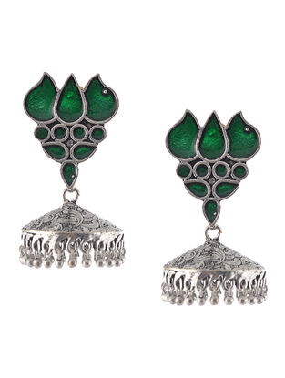 Green Enameled Jhumkis