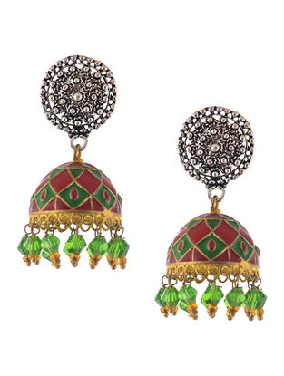 Green-Red Enameled Jhumkis