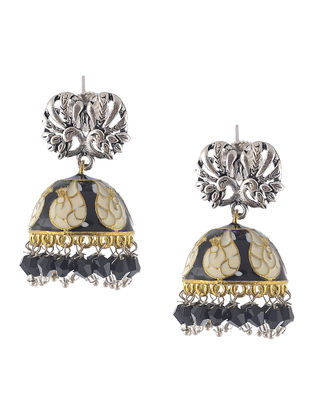 Black-White Enameled Jhumkis