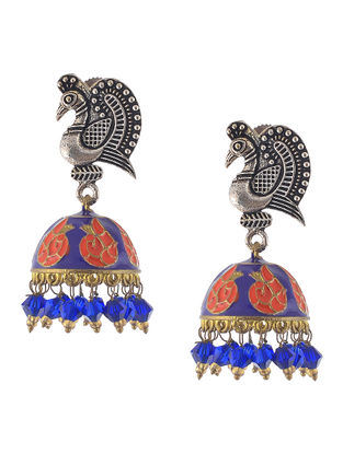 Purple-Peach Enameled Jhumkis