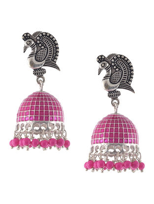 Pink Enameled Jhumkis with Peacock Design