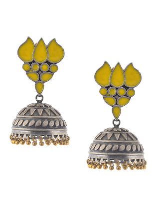 Yellow Enameled Jhumkis with Lotus Design