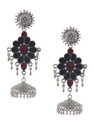 Brown-Orange Enameled Jhumkis