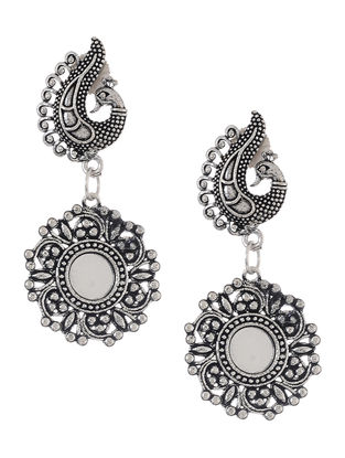 Classic Mirror Earrings with Peacock Design