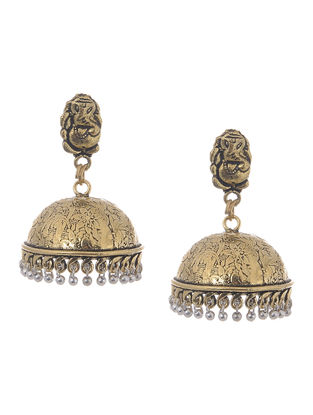 Classic Dual Tone Jhumkis with Lord Ganesha Design