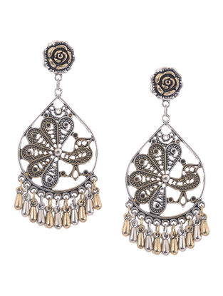 Classic Dual Tone Earrings with Peacock Design