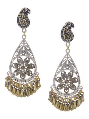 Classic Dual Tone Earrings with Floral Design