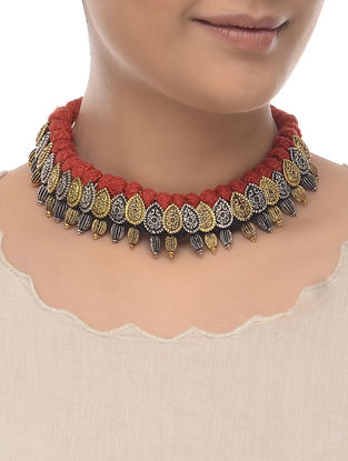 Red Thread Dual Tone Necklace
