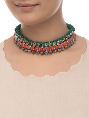 Red-Green Thread Dual Tone Necklace