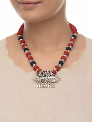Red-Black Thread Beaded Necklace