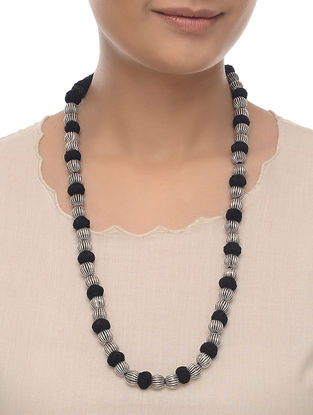 Black Thread Beaded Necklace