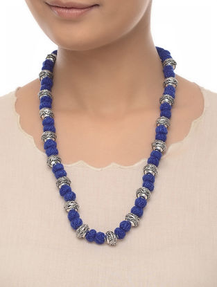 Blue Thread Beaded Necklace