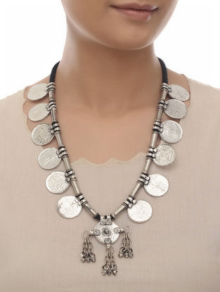 Black Tribal Coin Necklace