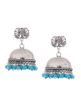 Blue Beaded Jhumkis with Peacock Design