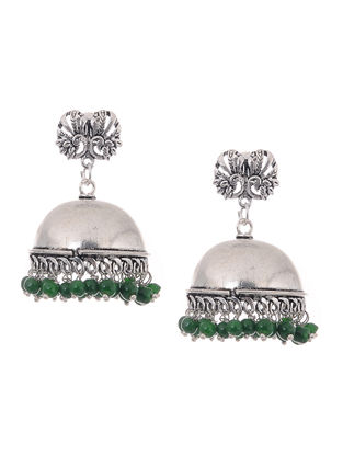 Green Beaded Jhumkis with Peacock Design