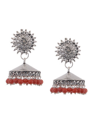 Red Beaded Jhumkis