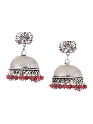 Red Beaded Jhumkis with Peacock Design