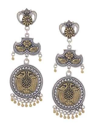 Classic Dual Tone Jhumkis with Peacock Design