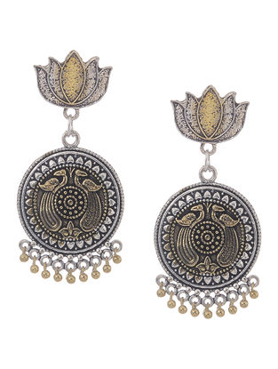 Classic Dual Tone Jhumkis with Lotus Design