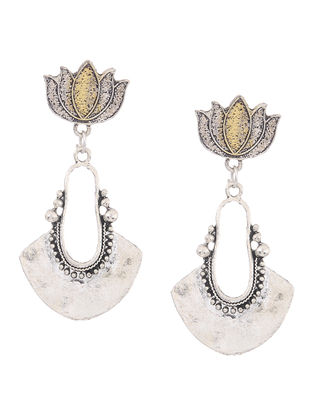 Classic Dual Tone Earrings with Lotus Design