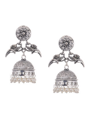 White Beaded Jhumkis with Bird Design
