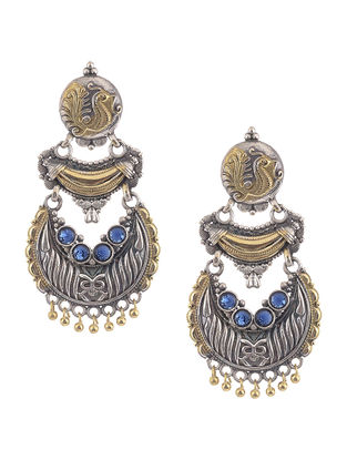 Blue Dual Tone Brass Earring with Peacock Motif