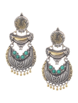 Green Dual Tone Brass Earrings with Peacock Motif