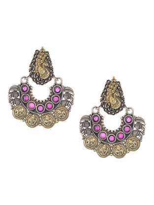 Purple Dual Tone Brass Earrings with Peacock Motif