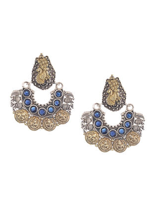 Blue Dual Tone Brass Earrings with Peacock Motif