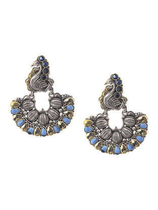 Blue Dual Tone Brass Earrings with Peacock Design