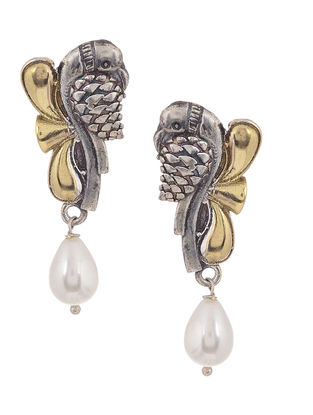 Dual Tone Brass Earrings with Pearl