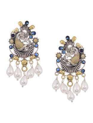 Blue Dual Tone Brass Earrings with Pearls