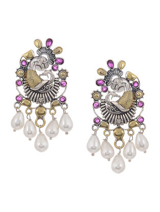Purple Dual Tone Brass Earrings with Pearls