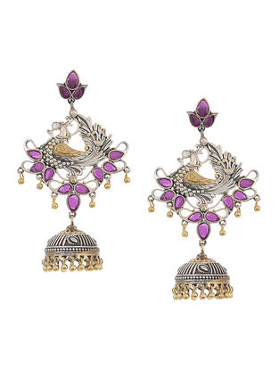 Purple Dual Tone Brass Jhumka