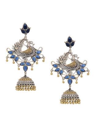 Blue Dual Tone Brass Jhumka