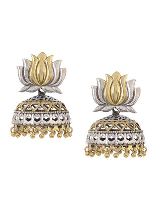 Dual Tone Brass Jhumka with Lotus Design