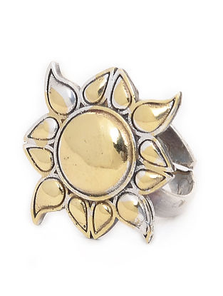 Dual Tone Brass Ring (Ring Size- 6.5)