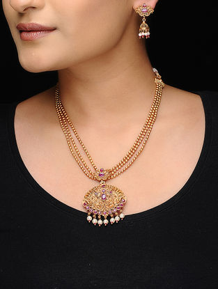 Pink Gold Tone Copper Pearl Beaded Necklace with a Pair of Earrings (Set of 2)