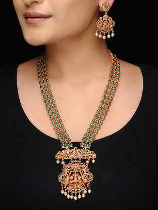 Green Gold Tone Copper Necklace with a Pair of Earrings (Set of 2)