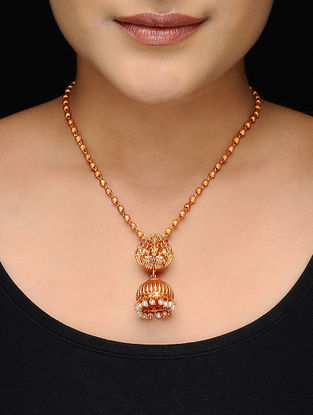 Gold Tone Copper Necklace with Pearl Beads