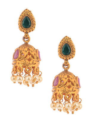 Purple-Green Gold Tone Copper Jhumkis