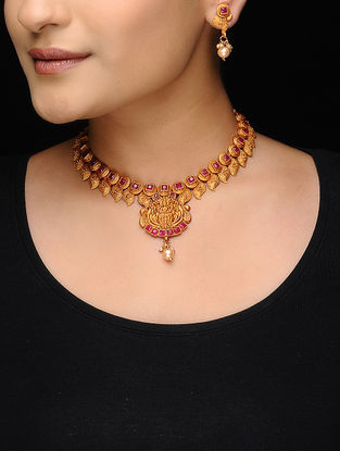 Pink Gold Tone Copper Necklace with a Pair of Earrings (Set of 2)