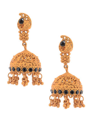 Green Gold Tone Copper Jhumkis
