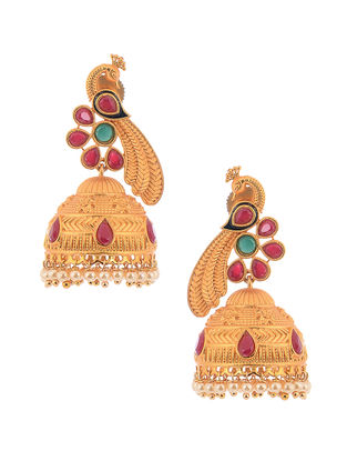 Pink Gold Tone Copper Jhumkis with Pearl Beads